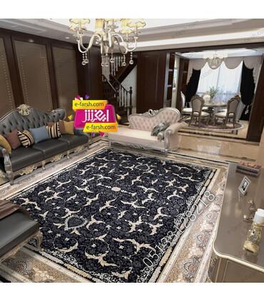 فرش ماشینی آرا مشهد طرح 25604 سورمه ای