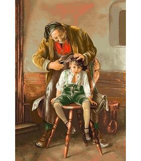 نخ و نقشه تابلو فرش طرح فرانسوی آرایشگر پیر