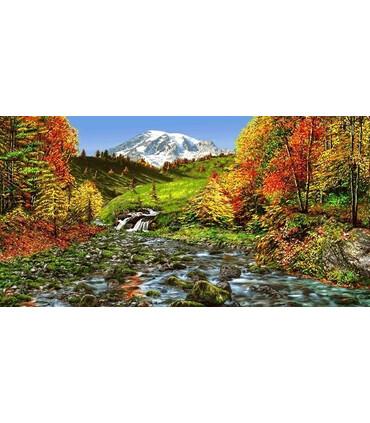 نخ و نقشه تابلو فرش طبیعت کد 1 طرح کوهستان