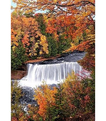 نخ و نقشه تابلو فرش کد طبیعت 11 طرح آبشار کوچک