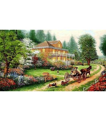 نخ و نقشه تابلو فرش طبیعت کد 13 طرح باغستان