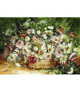 نخ و نقشه تابلو فرش طرح سبد گل های رز