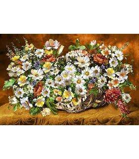 نخ و نقشه تابلو فرش طرح گل های بهاری