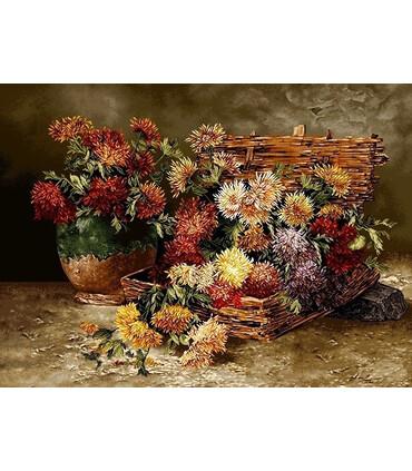 نخ و نقشه تابلو فرش گل کد 15 طرح گلهای داوودی