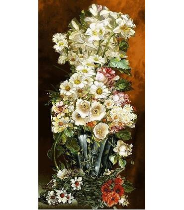 نخ و نقشه تابلو فرش گل کد 5 طرح گل های وحشی