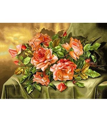 نخ و نقشه تابلو فرش گل کد 12 طرح گل های ریخته